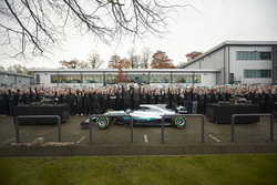 Niki Lauda, Non-Executive Chairman, Mercedes AMG F1,   Lewis Hamilton, Mercedes AMG F1, Toto Wolff, Executive Director Mercedes AMG F1, with all team members