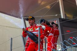 Race winner Sebastian Vettel, Ferrari and Kimi Raikkonen, Ferrari