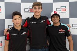Le poleman George Russell, ART Grand Prix, le deuxième Nirei Fukuzumi, ART Grand Prix, le troisième Arjun Maini, Jenzer Motorsport