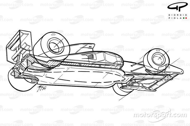 Ferrari F92A (644) 1992, vista inferiore schematizzata