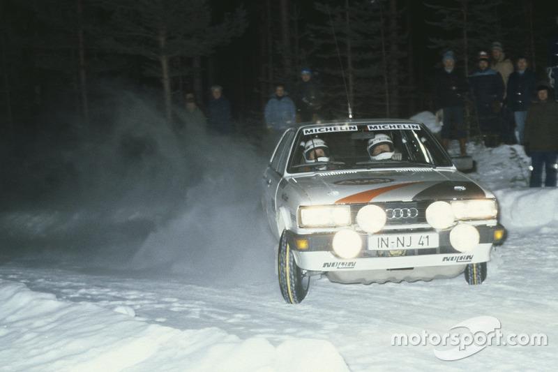Stig Blomqvist sur une Audi 80 Quattro lors du Rallye de Suède 1983