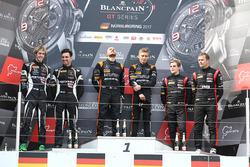 Podium: race winners Franck Perera, Maximilian Buhk, second place Andrea Caldarelli, Ezequiel Perez Companc, third place Marcel Fassler, Dries Vanthoor