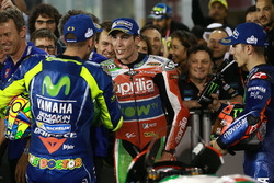 Race winner Maverick Viñales, Yamaha Factory Racing, third place Valentino Rossi, Yamaha Factory Racing,Aleix Espargaro, Aprilia Racing Team Gresini