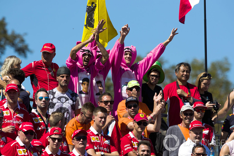 Fans of Force India, dressed as Pink Panthers, in the grandstands