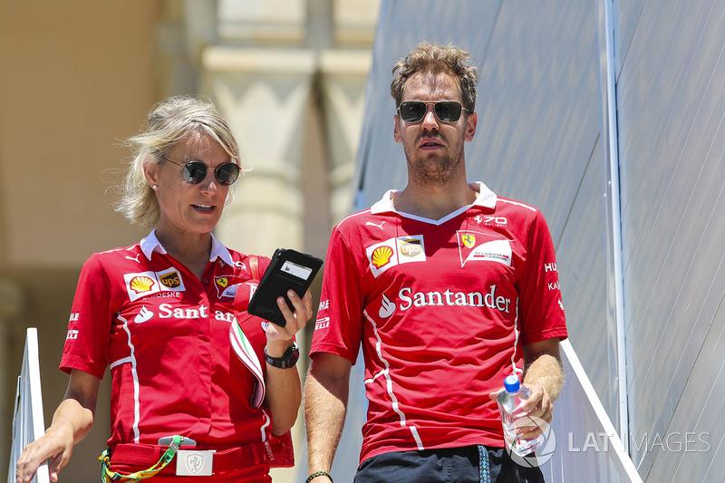Sebastian Vettel, Ferrari, his PA Britta Roeske at ...