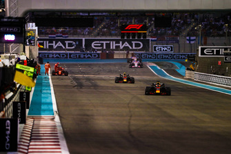 Daniel Ricciardo, Red Bull Racing RB14, leads Max Verstappen, Red Bull Racing RB14