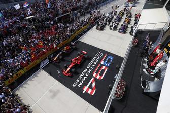 Lewis Hamilton, Mercedes AMG F1, Race winner, Kimi Raikkonen, Ferrari and Max Verstappen, Red Bull Racing on the podium