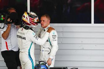 Race winner Lewis Hamilton, Mercedes AMG F1, congratulates Valtteri Bottas, Mercedes AMG F1