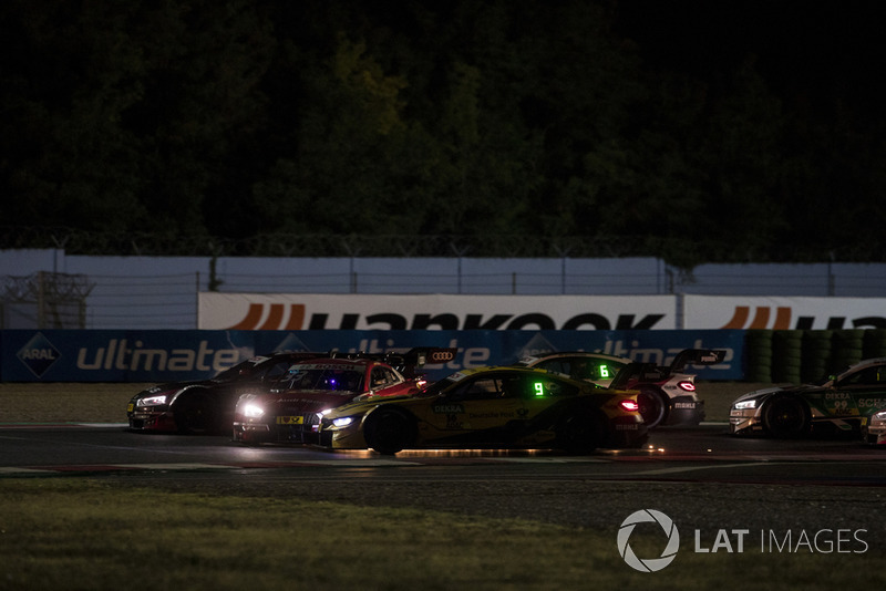 Contact between René Rast, Audi Sport Team Rosberg, Audi RS 5 DTM and Timo Glock, BMW Team RMG, BMW M4 DTM the start of the race