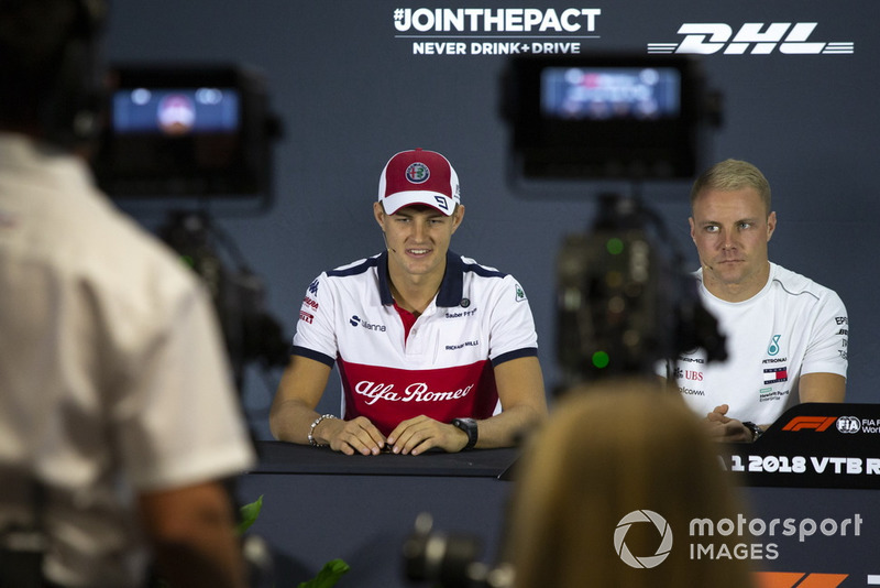 Marcus Ericsson, Sauber and Valtteri Bottas, Mercedes AMG F1 in press conference