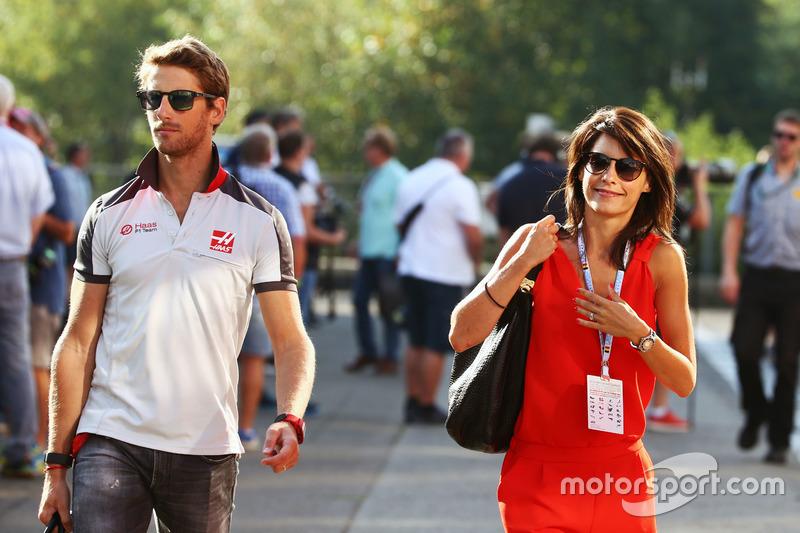 (Soldan sağa): Romain Grosjean ve eşi Marion Jolles Grosjean, TF1 TV Yorumcusu