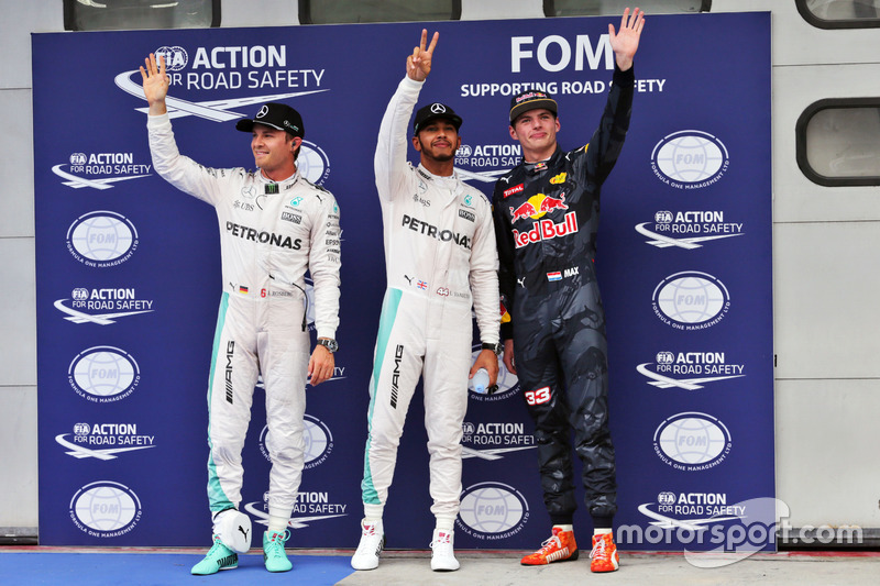 Qualifying top three in parc ferme: Nico Rosberg, Mercedes AMG F1, second; Lewis Hamilton, Mercedes AMG F1, pole position; Max Verstappen, Red Bull Racing, third