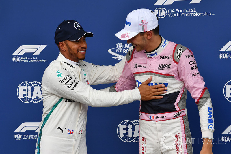 Lewis Hamilton, Mercedes AMG F1 , Esteban Ocon, Racing Point Force India F1 Team