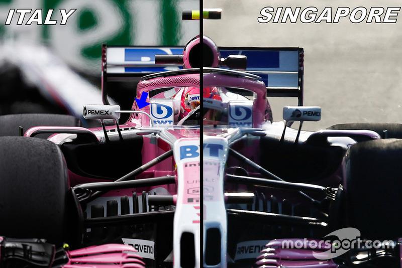 Force India VJM11 comparación de espejos