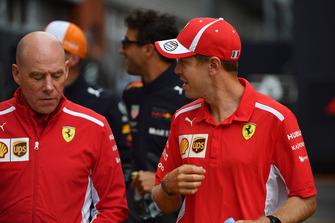 Sebastian Vettel, Ferrari and Jock Clear, Ferrari Chief Engineer