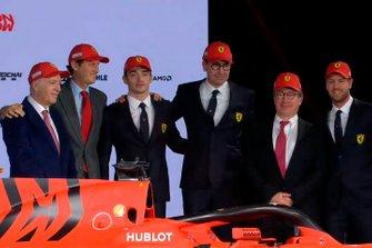 Charles Leclerc, Ferrari, Sebastian Vettel, Ferrari and Ferrari team members