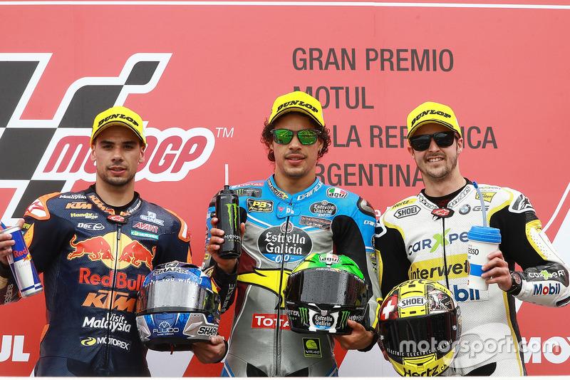 Podium: 1. Franco Morbidelli, Marc VDS; 2. Miguel Oliveira, Red Bull KTM Ajo; 3. Thomas Lüthi, CarXpert Interwetten