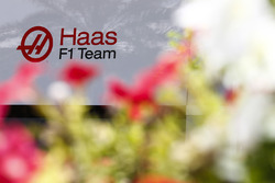 Haas F1 Team Team logo in the paddock