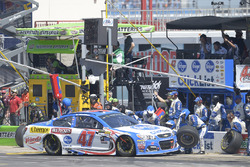 A.J. Allmendinger, JTG Daugherty Racing Chevrolet, makes a pit stop
