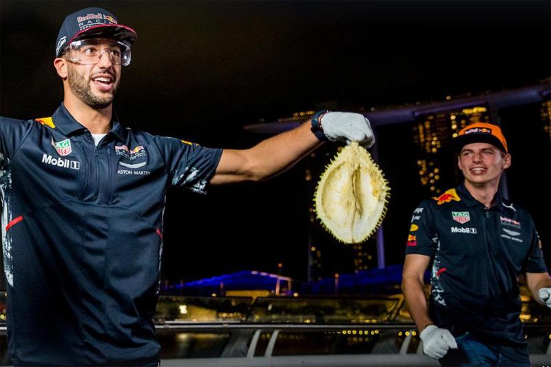 Daniel Ricciardo, Red Bull Racing, Max Verstappen, Red Bull Racing with durian fruit