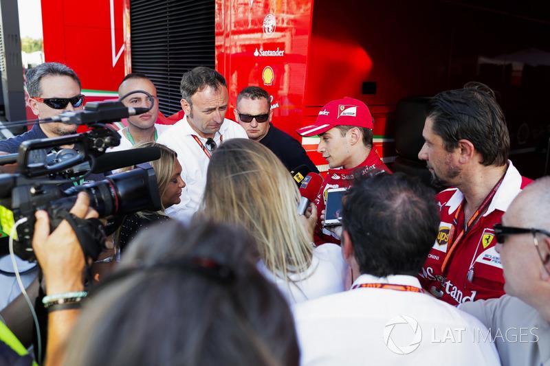 Charles Leclerc, Ferrari, talking to press