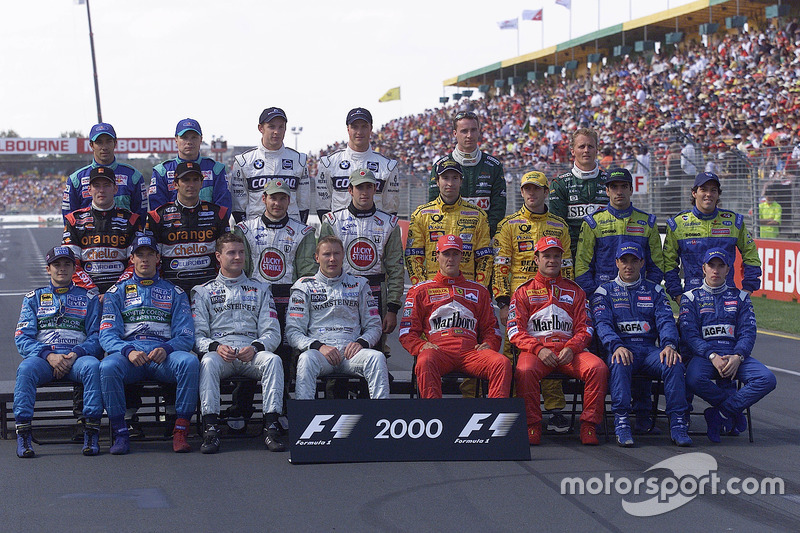 The formula one drivers get together for the annual start of year drivers group shot: (back row L-R)
