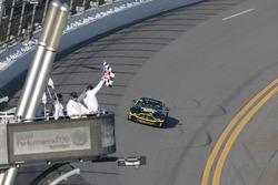 #99 Automatic Racing Aston Martin: Rob Ecklin, Al Carter se lleva la bandera a cuadros
