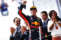 Max Verstappen, Red Bull Racing, celebrates on the podium