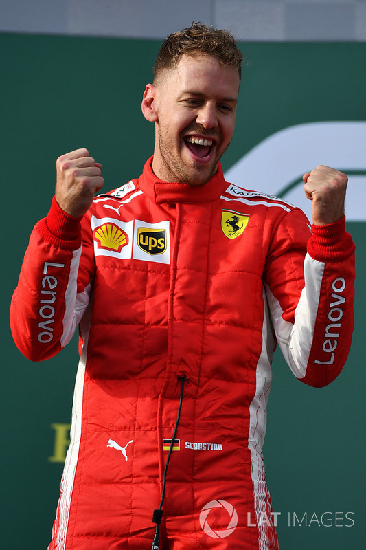 Wr Sebastian Vettel, Ferrari celebrates on the podium