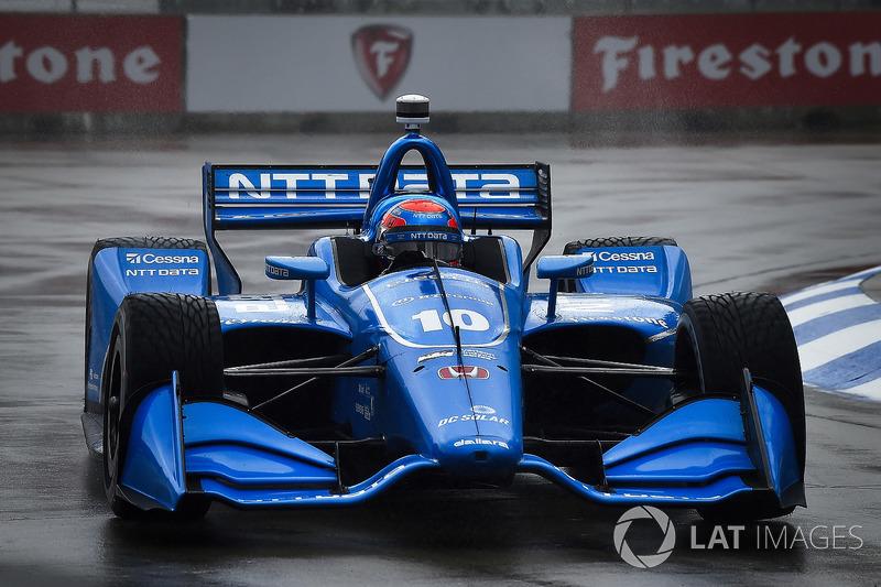 Ed Jones, Chip Ganassi Racing Honda qualifying in the rain