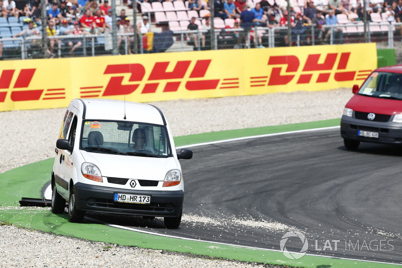 Gravel is cleared from the circuit