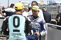 Il terzo qualificato Enea Bastianini, Leopard Racing, il poleman Jorge Martin, Del Conca Gresini Racing Moto3