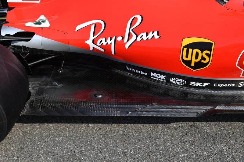 Ferrari SF71H detalle del piso trasero