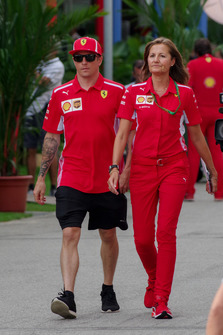 Kimi Raikkonen, Ferrari e Stefania Bocchi, addetta stampa Ferrari