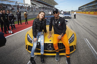 Lewis Hamilton, Mercedes AMG F1, with actress Millie Bobby Brown