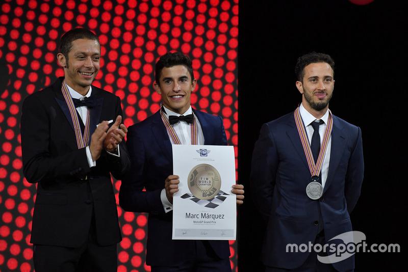 MotoGP Top-3 - (L to R) - Valentino Rossi - Yamaha Factory Racing, Marc Marquez - Repsol Honda, Andrea Dovizioso - Ducati