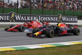 Daniel Ricciardo, Red Bull Racing RB14 en Sebastian Vettel, Ferrari SF71H