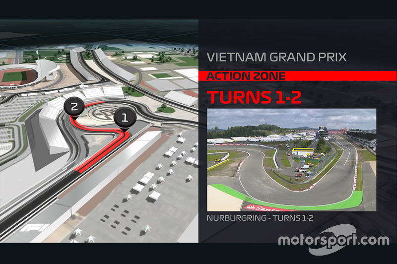 Render sirkuit GP Vietnam 2020: Tikungan 1-2