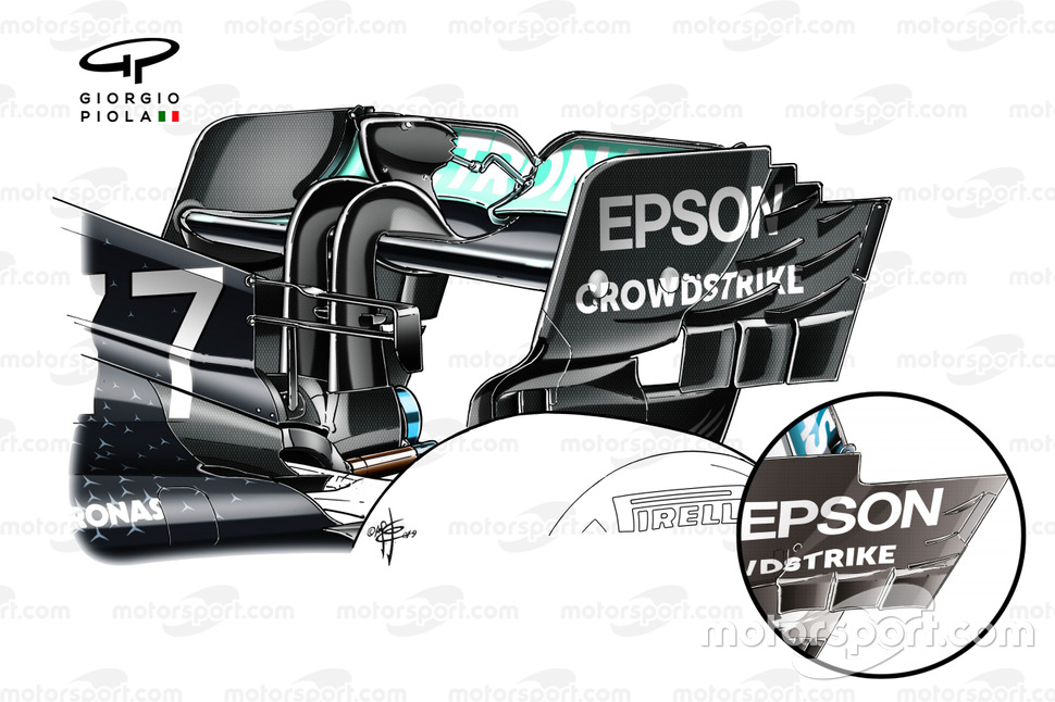 Mercdes AMG F1 W10 rear wing detail