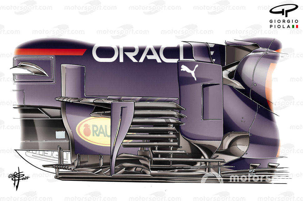 Red Bull Racing RB16B new bargeboard detail