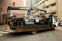 The crashed cra of Markus Pommer, Aust Motorsport, Audi R8 LMS