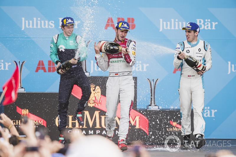 Daniel Abt, Audi Sport ABT Schaeffler, celebrates on the podium after winning the race with Oliver Turvey, NIO Formula E Team, Sébastien Buemi, Renault e.Dams