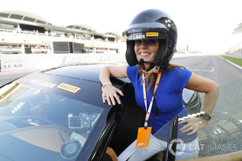 Geri Horner prepares for a Hot Lap in an Aston Martin driven by husband Christian Horner
