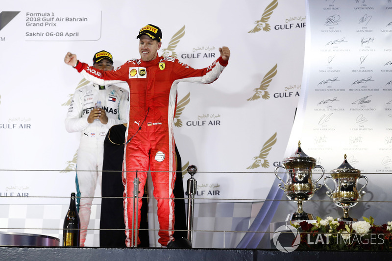 Sebastian Vettel, Ferrari, 1st position, arrives on the podium