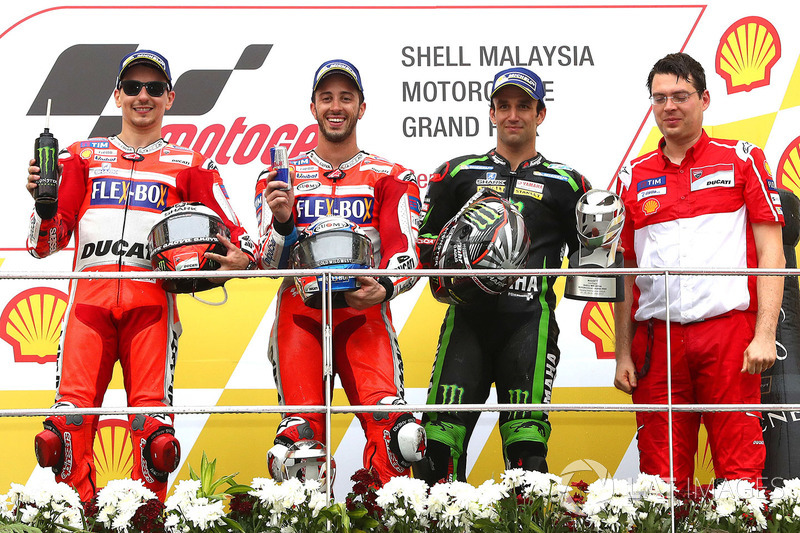 Podium: race winner Andrea Dovizioso, Ducati Team, second place Jorge Lorenzo, Ducati Team, third place Johann Zarco, Monster Yamaha Tech 3