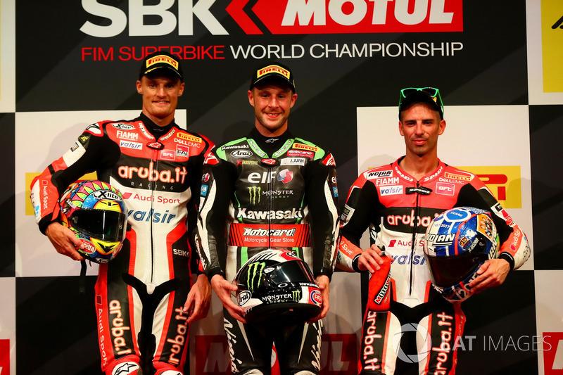 Podio: Ganador de la carrera Jonathan Rea, Kawasaki Racing, segundo lugar Chaz Davies, Ducati Team, tercer lugar Marco Melandri, Ducati Team