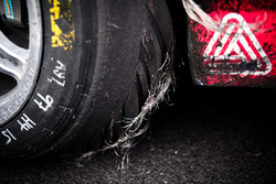 Race winner Shane van Gisbergen, Triple Eight Race Engineering Holden tyre derail