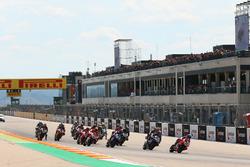 Marco Melandri, Aruba.it Racing-Ducati SBK Team leads race start