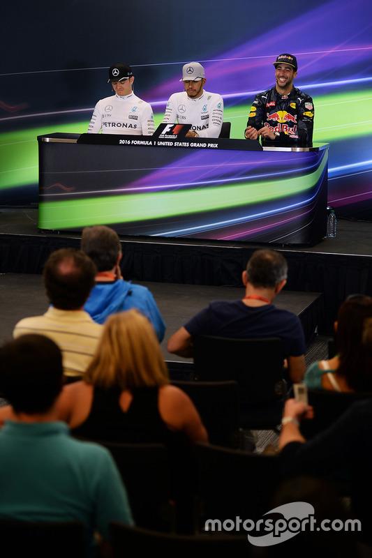The post race FIA Press Conference (L to R): Nico Rosberg, Mercedes AMG F1, second; Lewis Hamilton, Mercedes AMG F1, race winner; Daniel Ricciardo, Red Bull Racing, third.