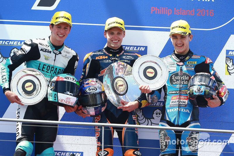 Podium: 1. Brad Binder, Red Bull KTM Ajo; 2. Andrea Locatelli, Leopard Racing; 3.  Aron Canet, Estrella Galicia 0,0